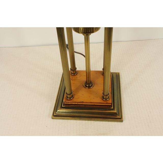 Stiffel 1960s Mid Century Modern Brass Wood Glass Stiffel Regency Table Lamp Light For Sale - Image 4 of 12