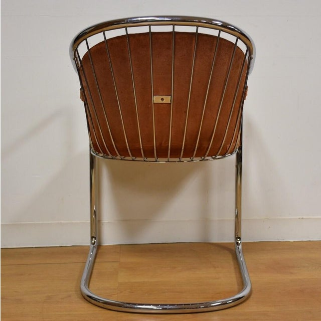 Mid-Century Chrome and Suede Chair - Image 5 of 9