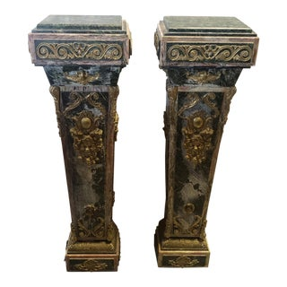 Pair Early 20th Century French Louis XVI Vert & Rogue Marble Tapered Ormolu Mounted Pedestal Columns For Sale