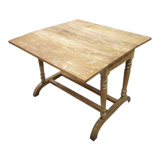 Antique French Oak Country Folding Console Side Entry Table For Sale