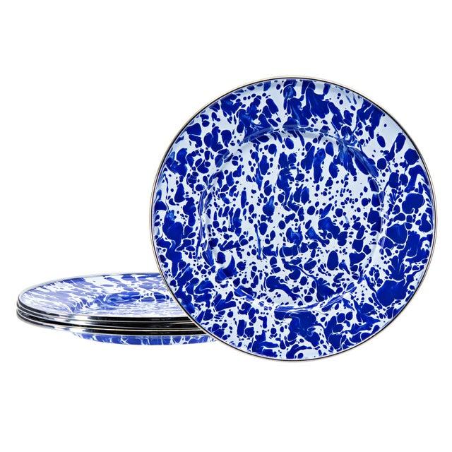 Modern Sandwich Plates Cobalt Swirl - Set of 4 For Sale - Image 3 of 3