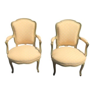 French Painted Yellow Arm Chairs - a Pair