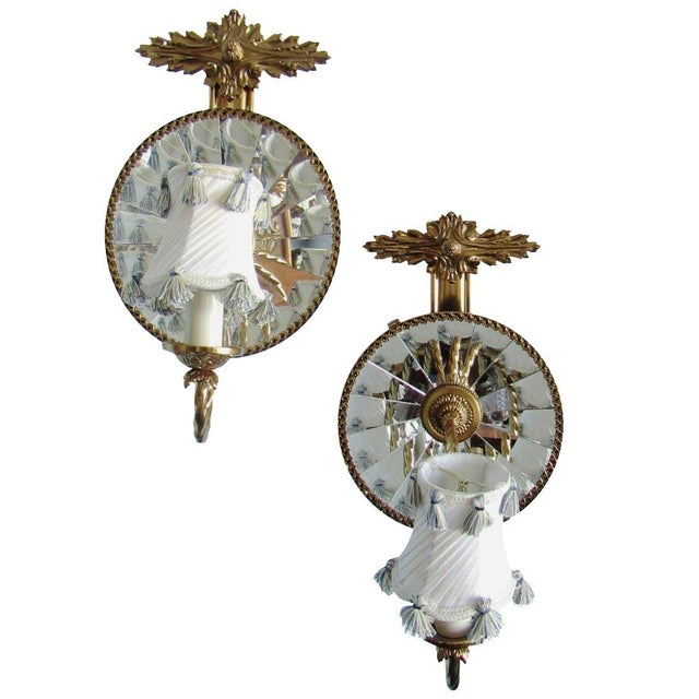 Mirrored Wall Sconces - A Pair - Image 1 of 7
