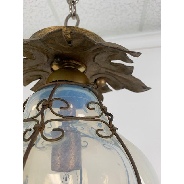 Mediterranean Smoked Glass Single Light Flush Mount Fixture For Sale - Image 3 of 9