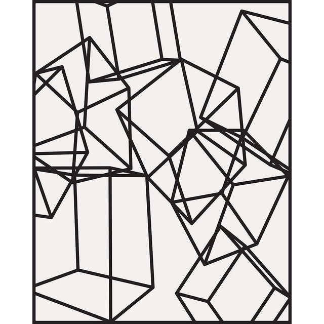 Black Cubes on White 1 Print on Paper For Sale