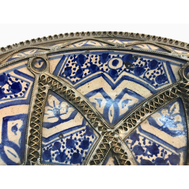 Decorative Moroccan Blue and White Handcrafted Ceramic Bowl From Fez For Sale - Image 10 of 12