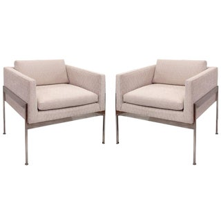 Pair of Chrome and Upholstered Chairs in the Manner of Knoll