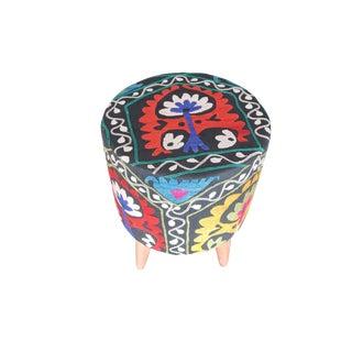 Modern Handwoven Uzbek Suzani Ottoman Footstool For Sale