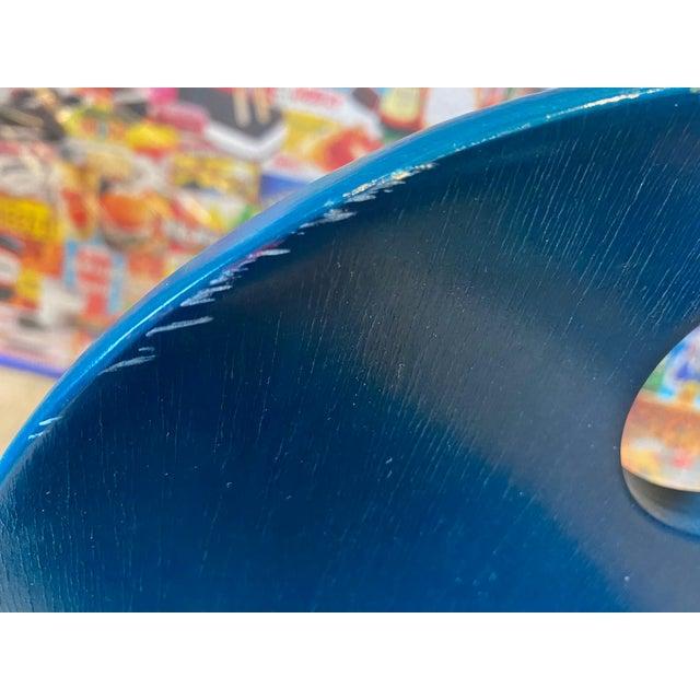 Blue Vintage Thonet Children's Bent Wood Seat For Sale - Image 8 of 11
