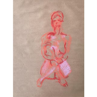 1970s Pastel Figurative Drawing For Sale