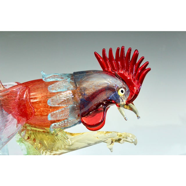 Figurative 1950s Murano Italian Venetian Glass Rooster Figurine For Sale - Image 3 of 13