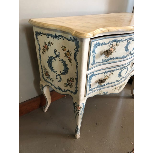 Mid century Italian hand painted floral and scroll on cream base chest of 2 drawers with faux marbled top. Shabby chic...