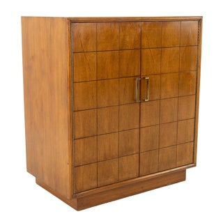 Lane Mid Century Walnut Brass and Cedar Lined Record Media Cabinet For Sale