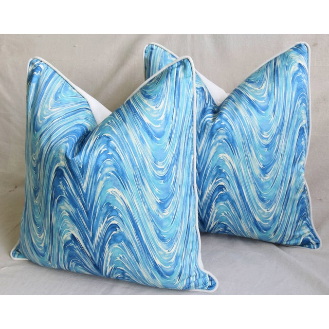 "White Blue/White Marbleized Swirl Feather/Down Pillows 24"" Square - Pair For Sale - Image 8 of 13"