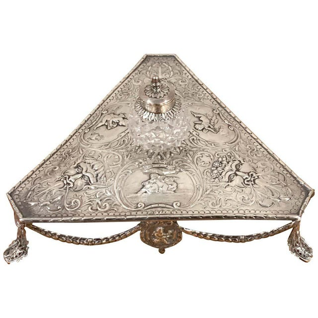 Georgian Sterling and Cut Glass Triangular Inkstand, London, 1777 For Sale - Image 13 of 13