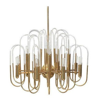 Sciolari Brass And Glass Chandelier For Sale