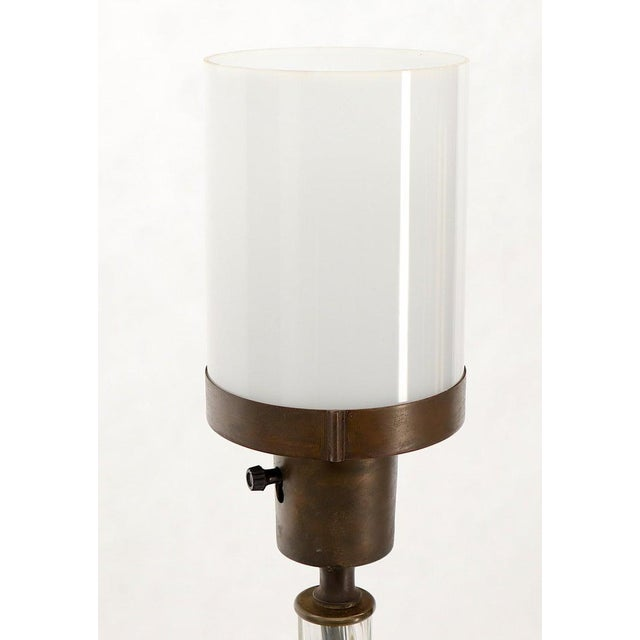 Twisted Glass Pole Reversed Painting Table Art Deco Floor Lamp For Sale - Image 9 of 11