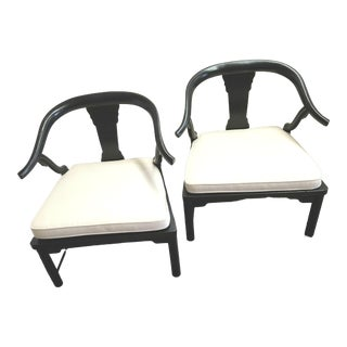 1950s Vintage Chinese Style Ebonized Low Chairs - a Pair For Sale