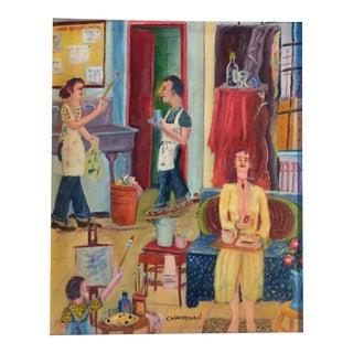 "Vintage ""Artist Studio"" Original Painting"