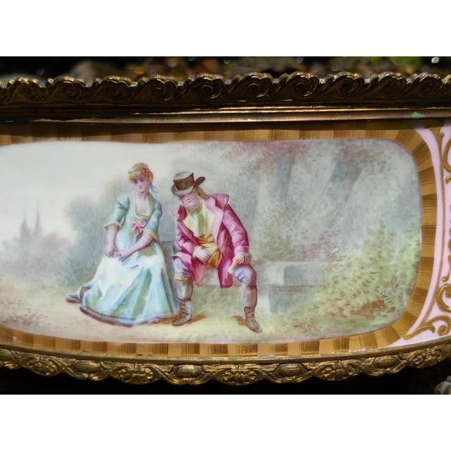 1800s Sevres-Style Rose Pompadour Porcelain Gilded Bronze Trim Oval Cachepot For Sale - Image 6 of 13