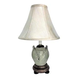 Vintage Celadon Elephant Jar Table Lamp For Sale