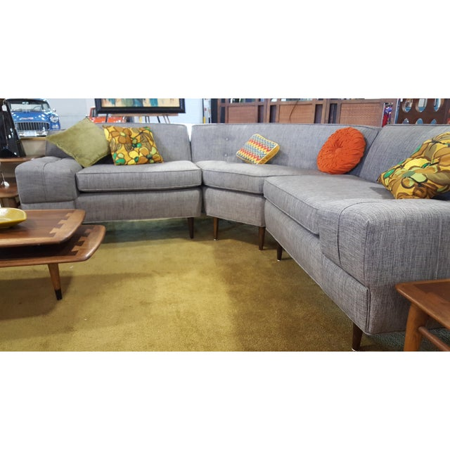 Mid-Century Modern Gray Sectional Sofa - Image 4 of 8