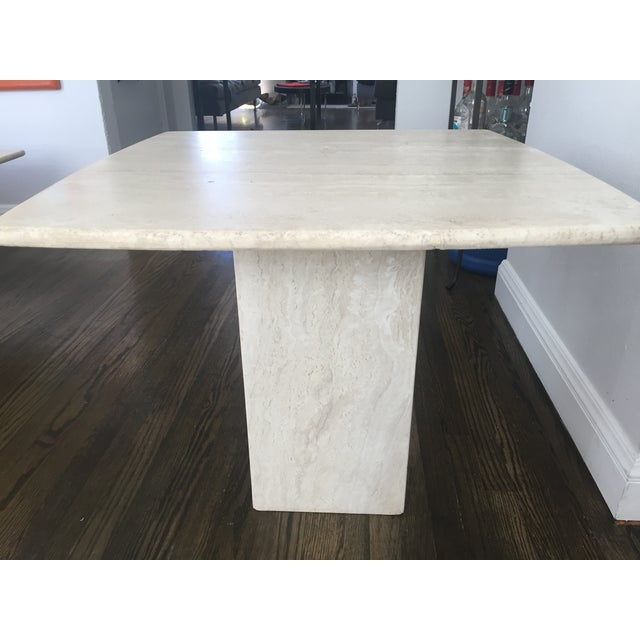 Italian Travertine Marble Side Table - Image 3 of 6