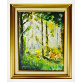 Framed Oil on Board Signed Painting of Deer in Forest Preview