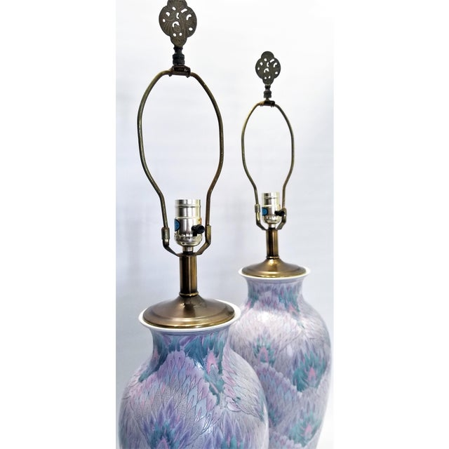 Blue Vintage Peacock Phoenix Bird Feather Ceramic Porcelain Chinese Table Lamps -Pair- Asian Mid Century Modern Boho Chic Tropical Coastal Palm Beach Qing For Sale - Image 8 of 12