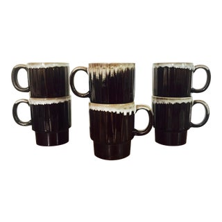 Vintage Drip Glaze Pottery Stacking Mugs - Set of 6 For Sale