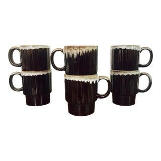 Vintage Drip Glaze Pottery Stacking Mugs - Set of 6