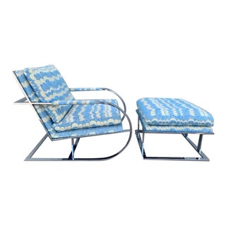 1970s Milo Baughman for Thayer Coggin Chair & Ottoman Set For Sale