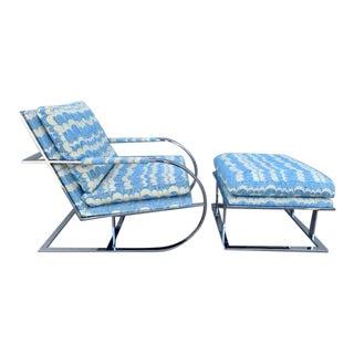 1970s Milo Baughman for Thayer Coggin Chair & Ottoman Set - a Pair For Sale