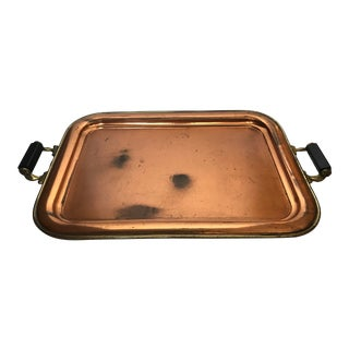 1960s Vintage Copper Finish Serving Tray For Sale