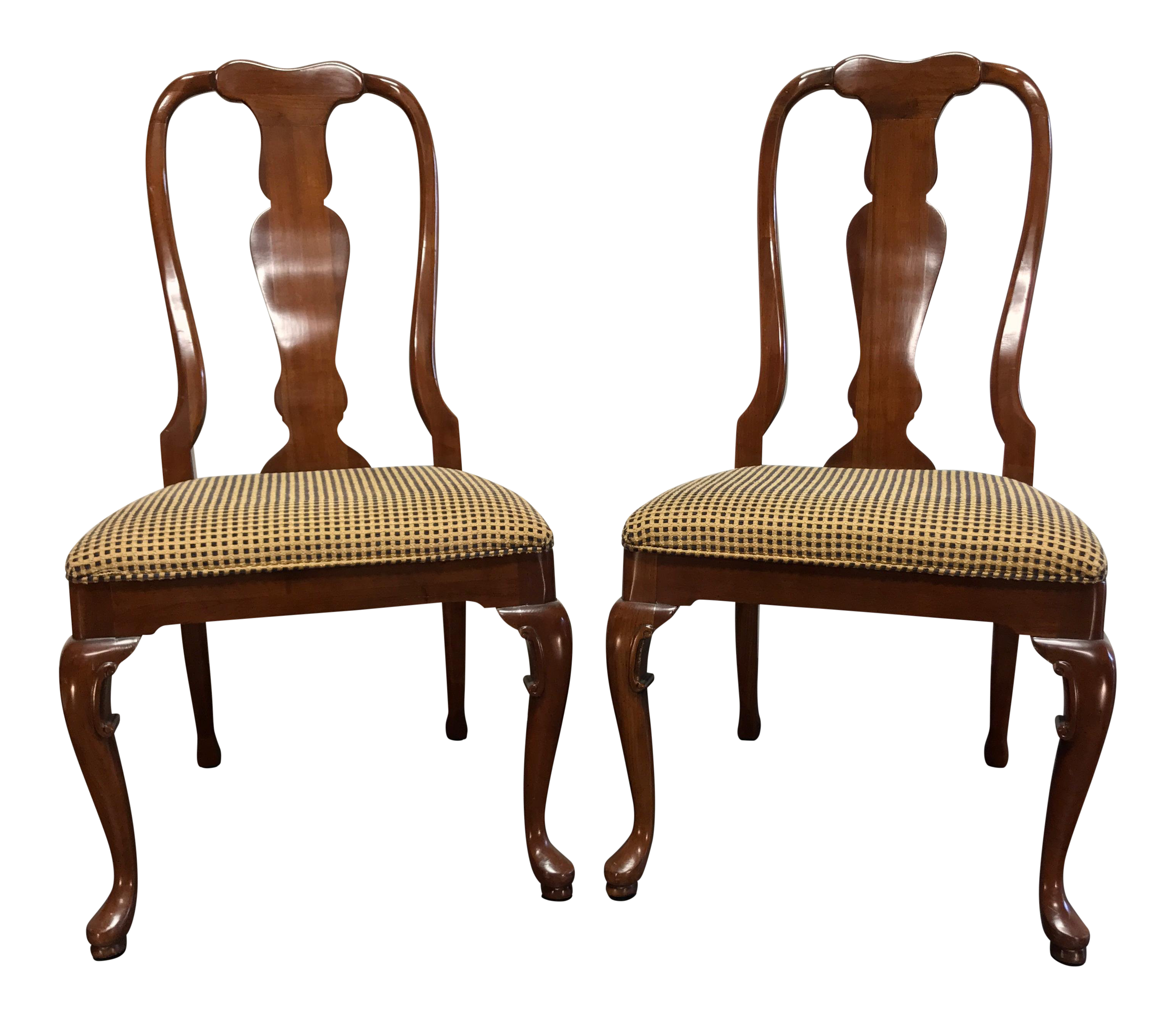 Genial Solid Cherry Queen Anne Dining Side Chairs By Fancher   Pair 1