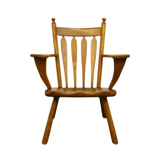 Late 20th Century Cushman Colonial Solid Hard Rock Maple Arrowback Accent Arm Chair For Sale