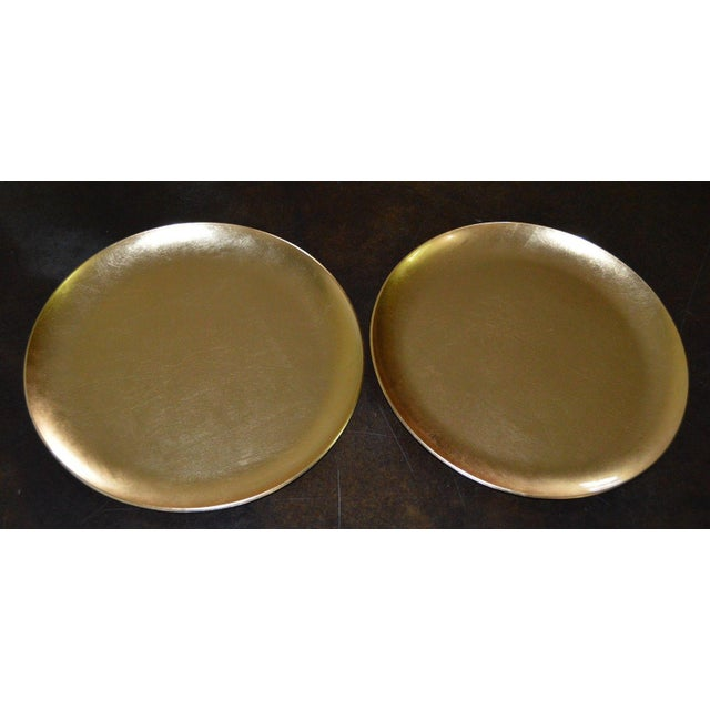 Japanese Gold Foil Lacquer Charger Plates Black - A Pair Set of Two (2) - Image 2 of 6