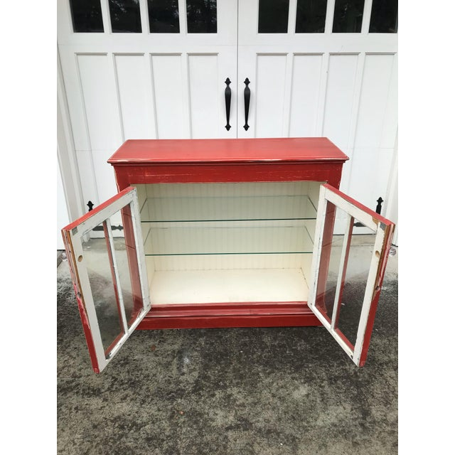 Shabby Chic Rustic Red Beadboard Interior Cabinet For Sale - Image 3 of 7