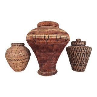 1960s African Lidded Baskets - Set of 3 For Sale