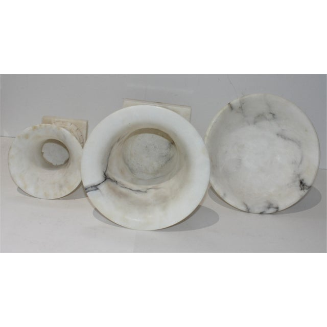 Mid 20th Century Vintage White Marble Urns and Compote - Set of 3 Pieces For Sale - Image 5 of 12