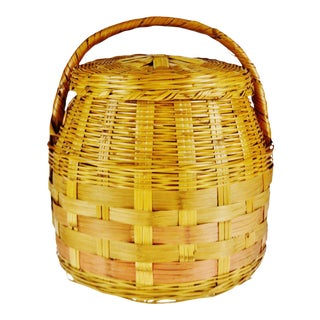 Vintage Woven Wicker Lidded Basket For Sale