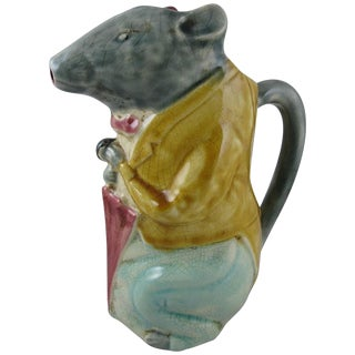 French Barbotine Majolica Pitcher, The City Badger with an Umbrella