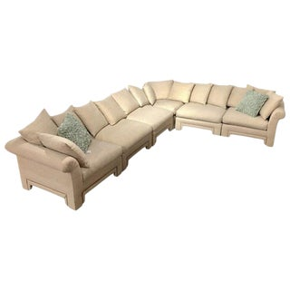 Vintage Drexel Chinoiserie Asian Modern Ivory Sectional Sofa 6-Piece Modular For Sale