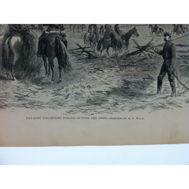 "American 1870s Antique ""Cavalry Collecting Forage Outside the Lines"" Pictorial Battles of the Civil War Print For Sale - Image 3 of 4"