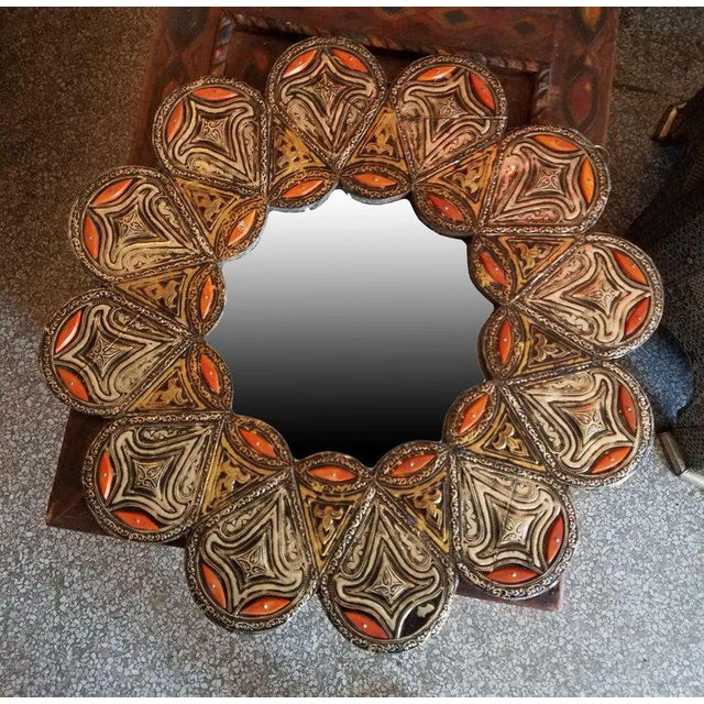 Moroccan Resin and Camel Bone Inlaid Round Mirror For Sale - Image 4 of 5