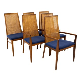 Dillingham Esprit Caned Back Mid Century Modern Dining Chairs - Set of 6 For Sale