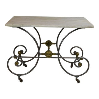 19th Century Bakery Table With White Marble Top For Sale