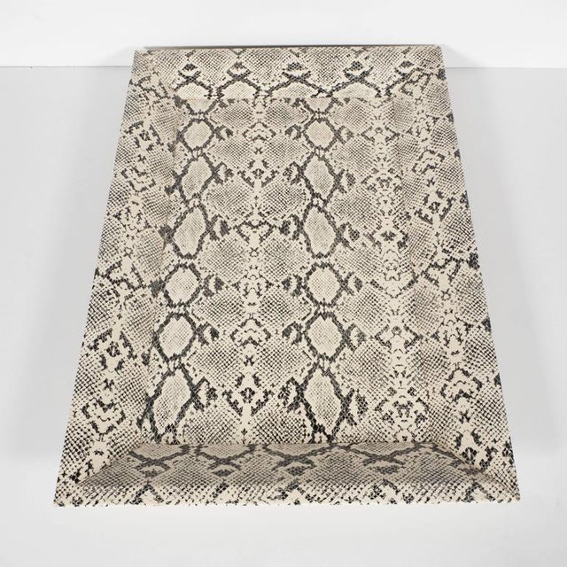 2000s Modernist Rectangular Shadow Box Design Faux Python Tray For Sale - Image 5 of 9