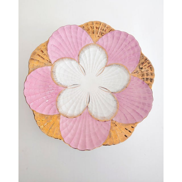 Ceramic 1940s Pink and Gold Scalloped Edge Shell Plate For Sale - Image 7 of 7