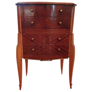 1930s Art Deco Walnut Commode With Bronze Hardware